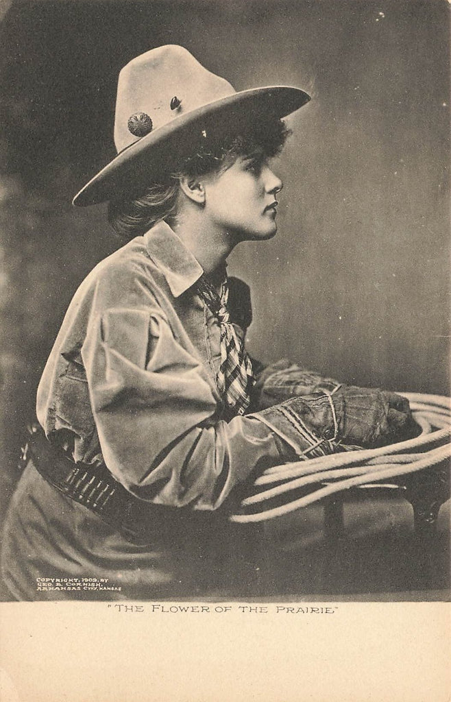 Cowgirl - Albertype Sepia -  copyright 1909 Cornish - Arkansas City KS - Western