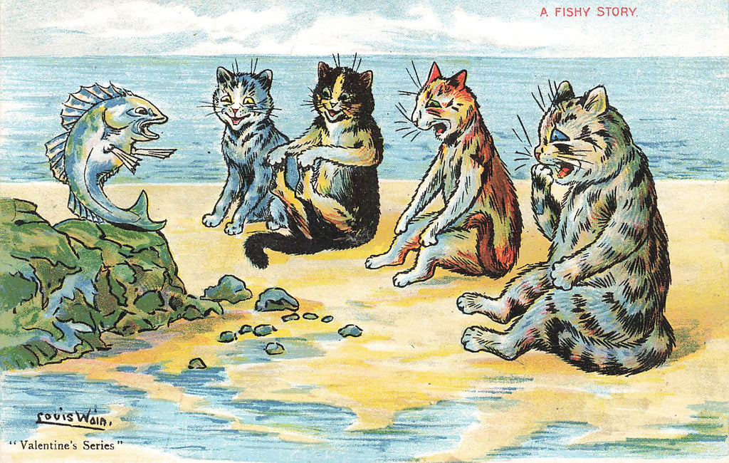 Louis Wain - A Fishy Tail - Cats