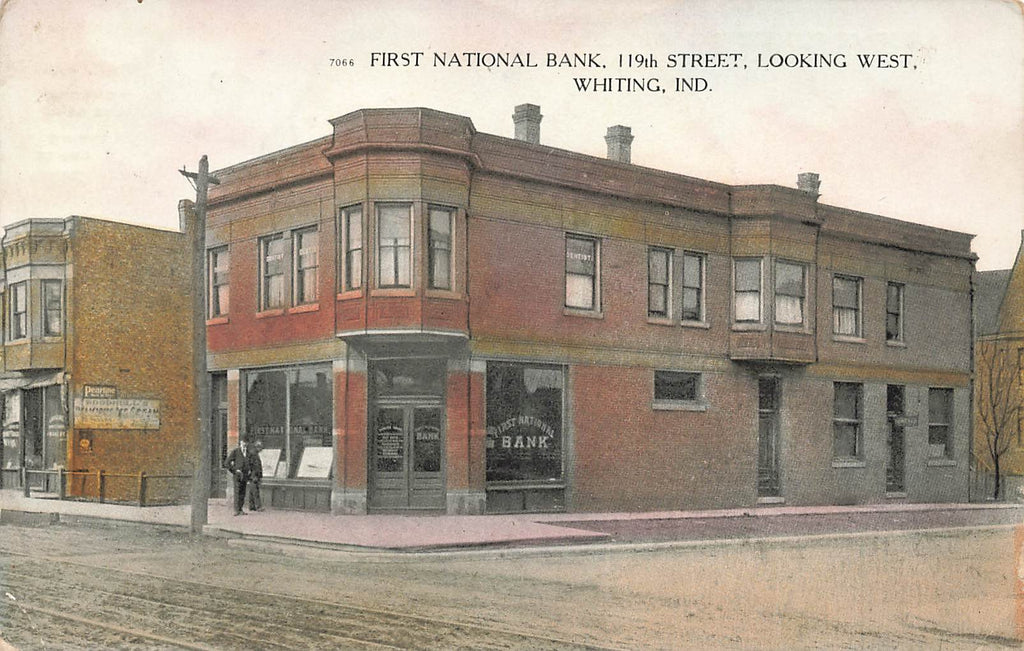 Whiting IN Indiana - First National Bank - 119th Street - Curt Teich - 1911