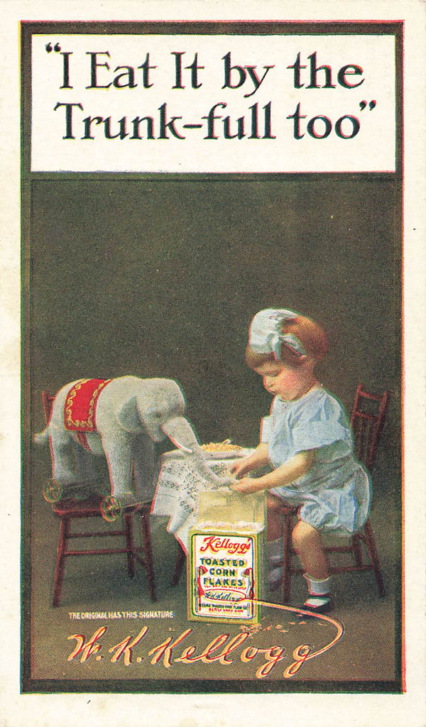 W.K. Kellogg Cereal Advertisement - Elephant - Trunk-full - Girl