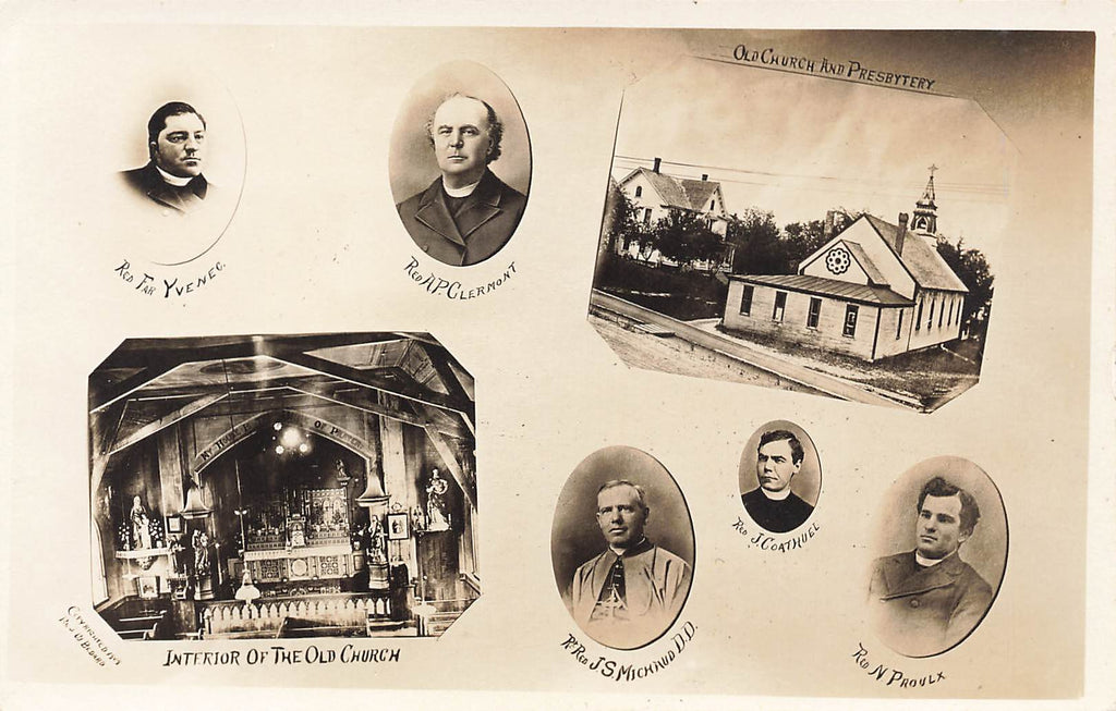 Barton Vermont - St. Paul's Old Church - Early Priests - RPPC