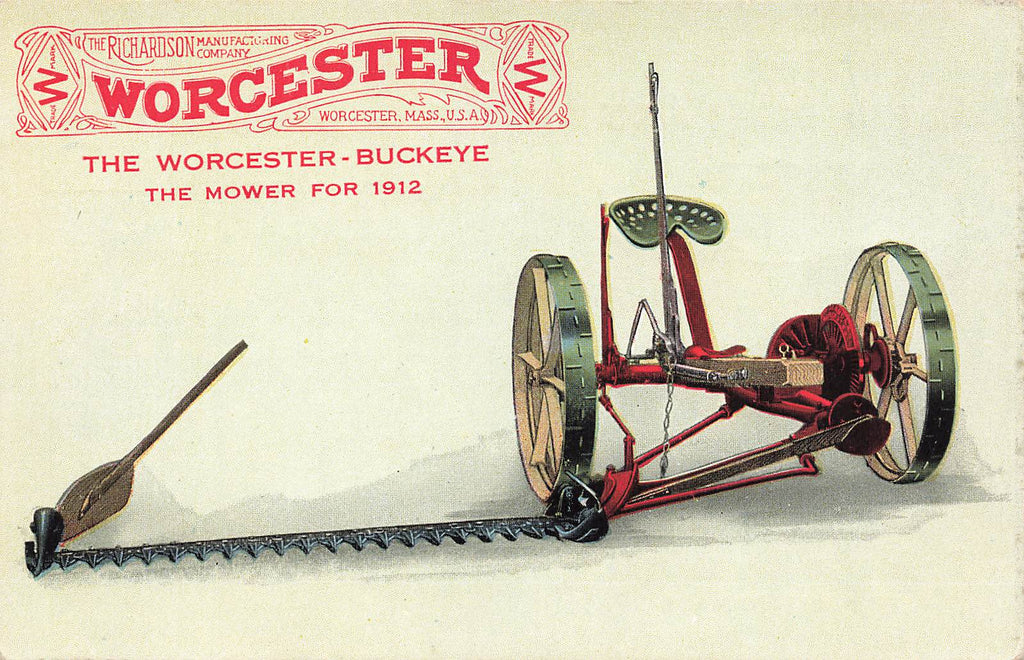 Worcester Buckeye Mower 1912 - adv postcard - MA - Massachusetts