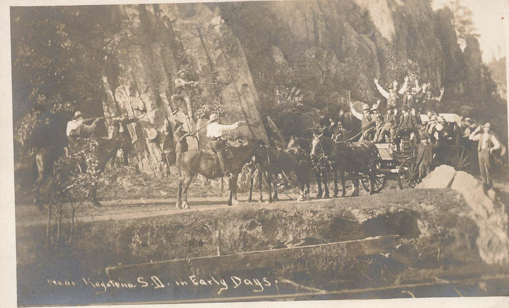 Keystone SD South Dakota - Stagecoach Robbery - SXPC RPPC