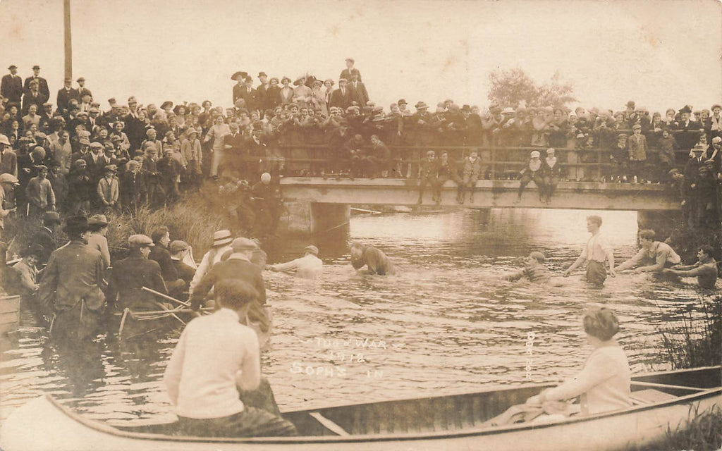Water TUG OF WAR - Sophomore's In - 1912 - Albion Michigan