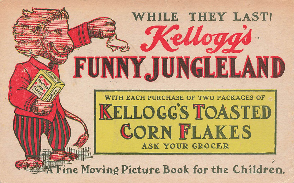 Kellogg's Funny Jungleland - Postcard Advertising - Corn Flakes
