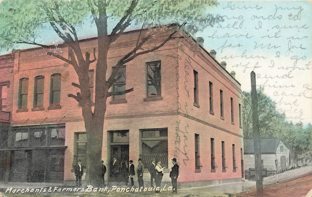 Ponchatoula Louisiana LA - Merchants & Farmers Bank - Rare Postcard