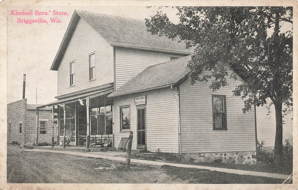 Briggsville Wisconsin - Kimball Brothers Store - Post Office