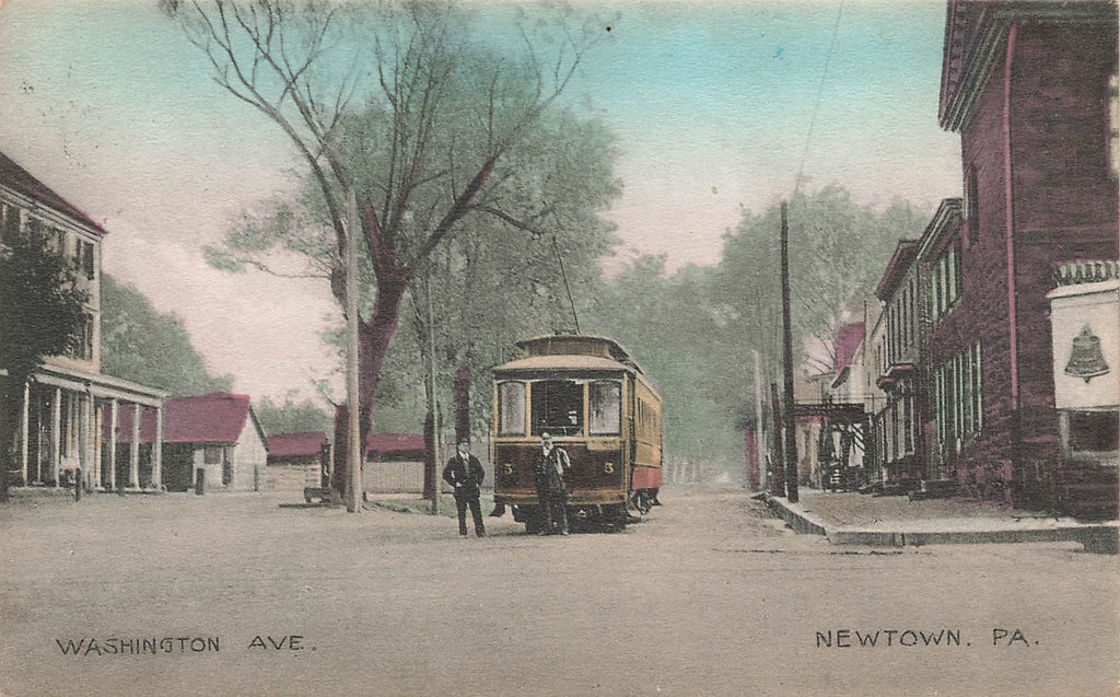 Newtown PA - Washington Ave - Trolley - 1909