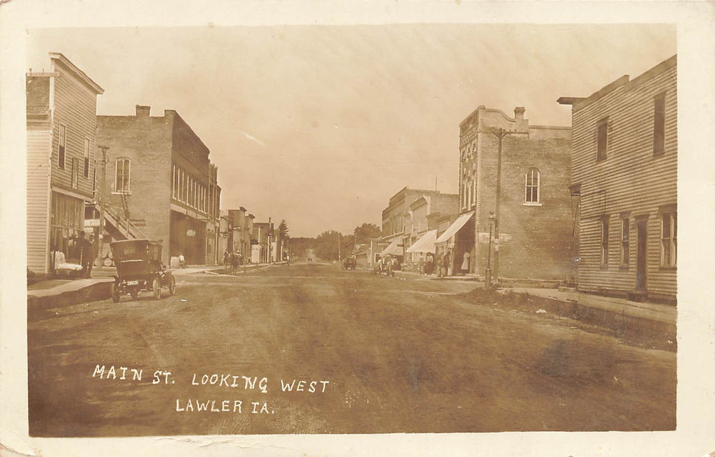 Lawler IA Iowa - Main Street  Looking West - Early RPPC