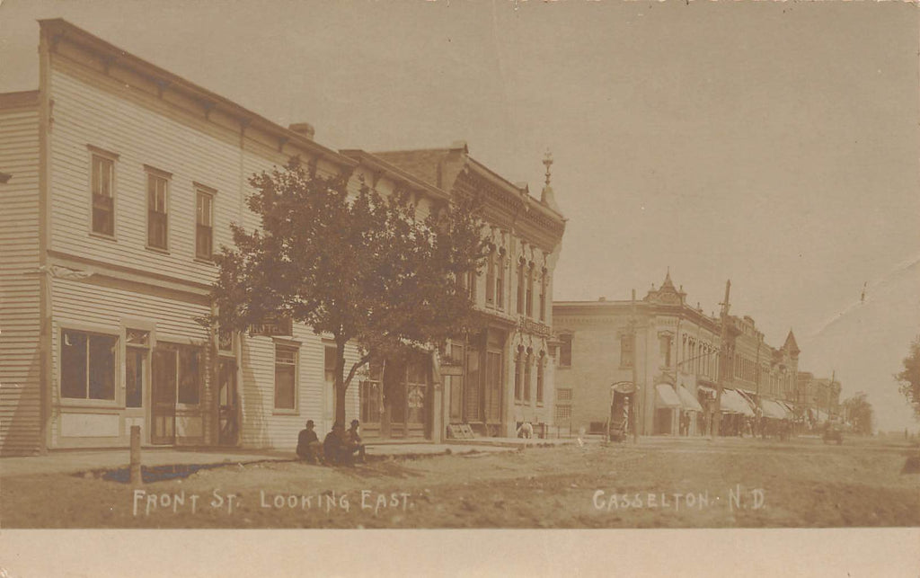Casselton ND North Dakota - Front Street -  1908 Real Photo RPPC