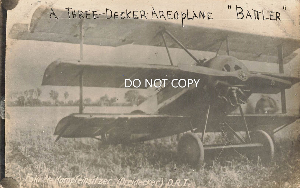 "Fokker Triplane - ""Battler""  WWI German Fighter - RPPC"