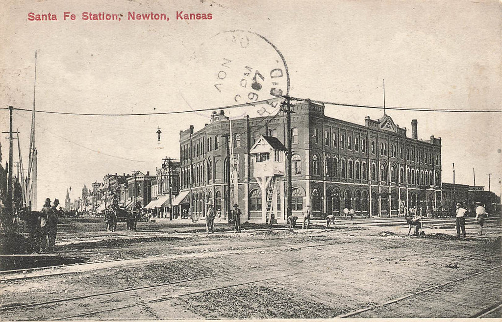 Newton KS Kansas - Santa Fe Station - 1907 - Scarce view