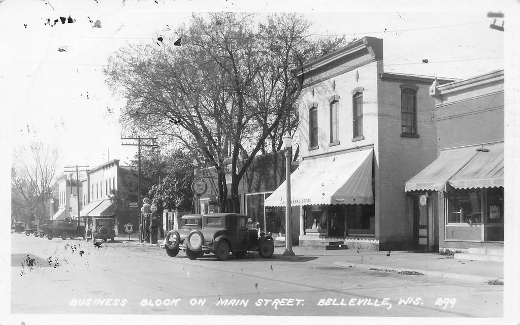 Belleville WI Wisconsin - Main St - AIRMAIL WEEK 1938 - rppc