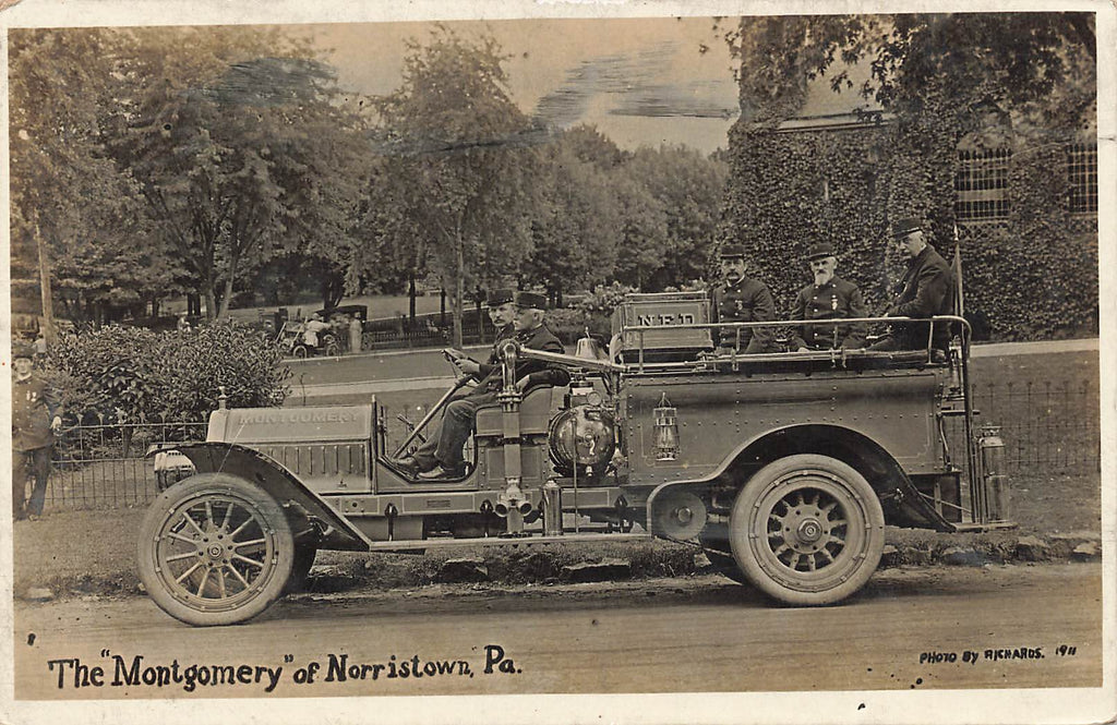 Norristown PA Pennsylvania - Montgomery Fire Truck - RPPC 1911