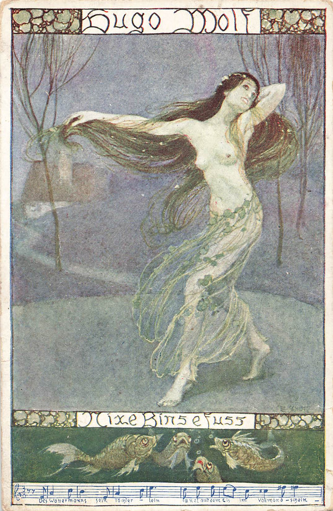 Hugo Wolf - Mermaid Song Postcard - Nixe Binsefuß - Nude Woman