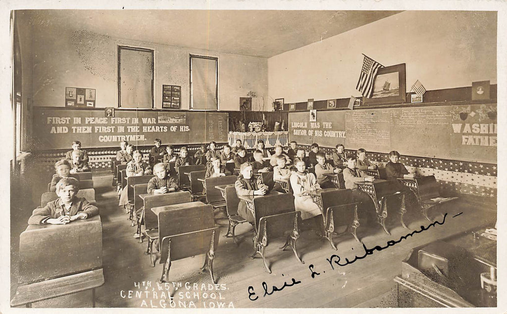 Algona IA Iowa - Central School Classroom - 1909 RPPC