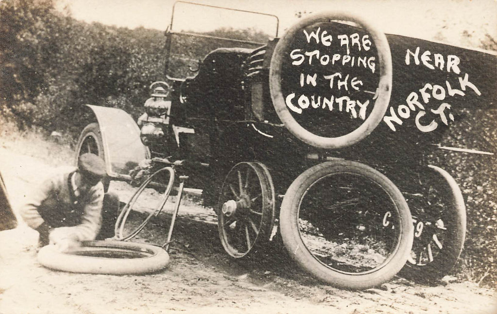 Norfolk CT Connecticut - Automobile Flat Tire - RPPC - Early