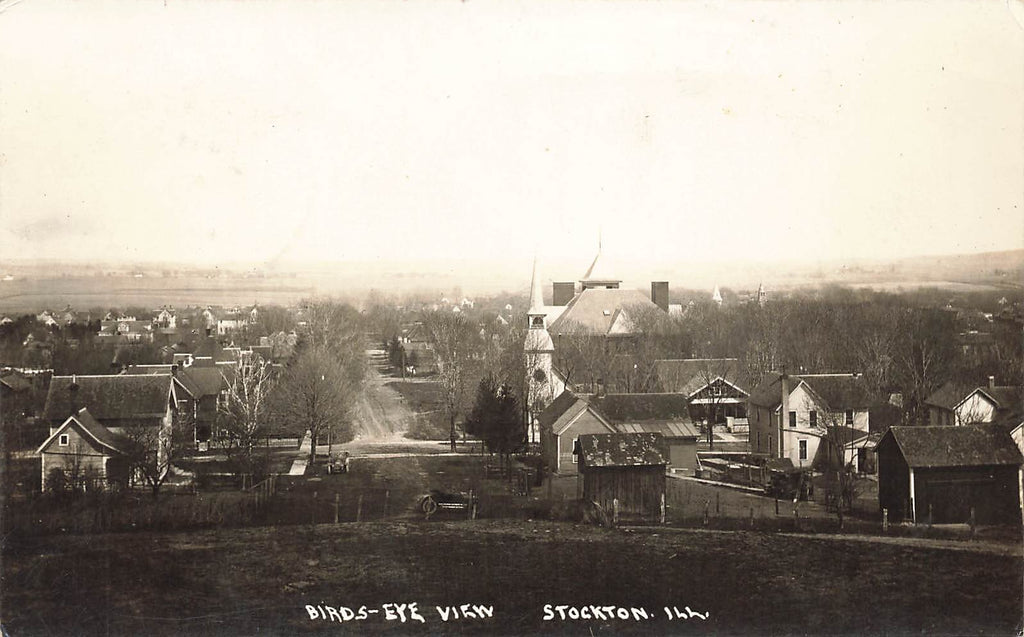 Stockton IL Illinois - Birds Eye View - Real Photo 1919