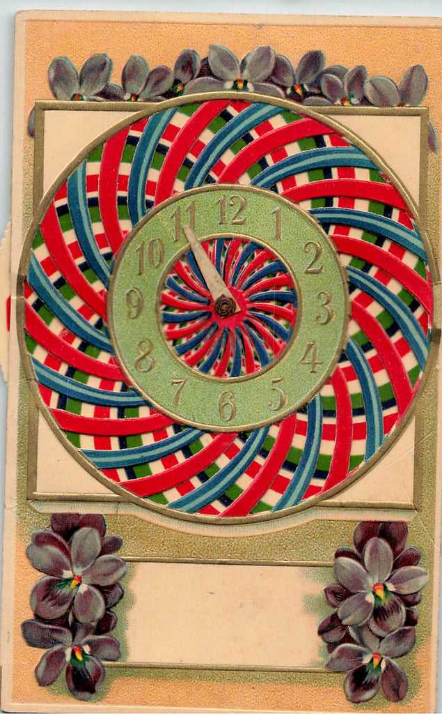 kaleidoscope - mechanical - Clock Postcard - Nice Embossed