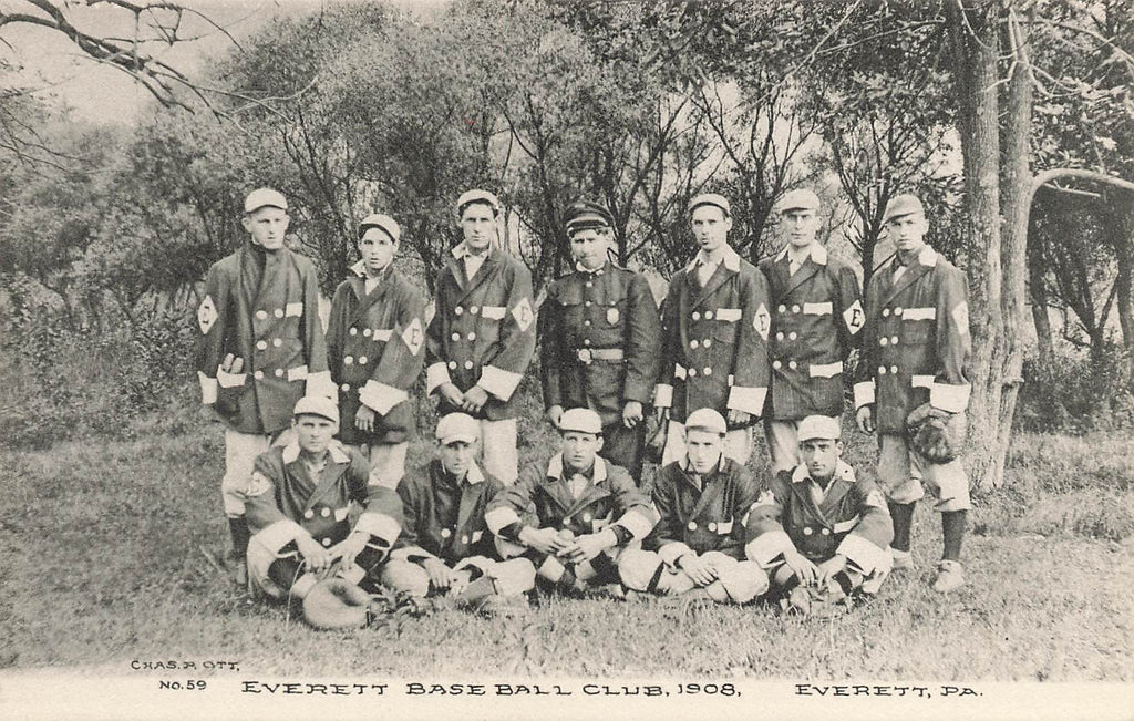 Everett Baseball Club 1908 - Everett PA Pennsylvania - Albertype Postcard