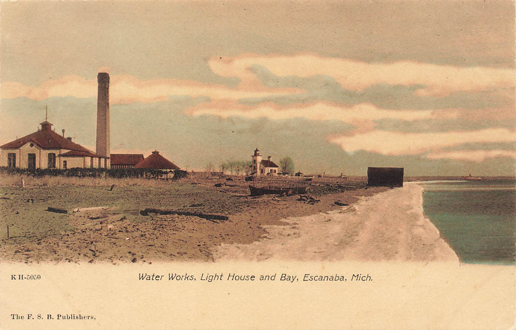 Escanaba MI Michigan - Water Works - Light House - Hand colored / tinted