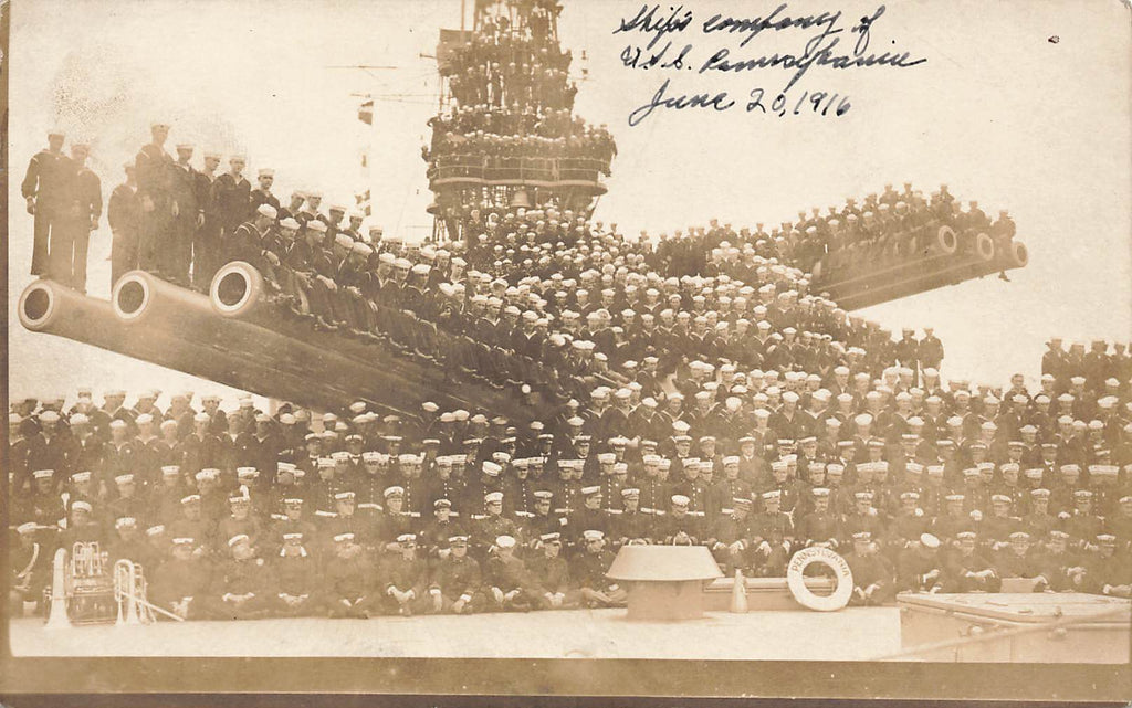 USS Pennsylvania Ship Crew 1916 - Real Photograph RPPC - Great Photo