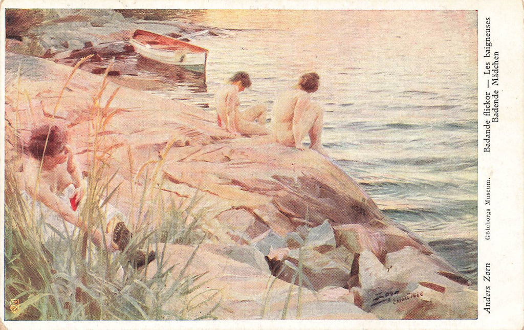 Anders Zorn -  Artist Signed - Women Nude Bathing - lake - boat