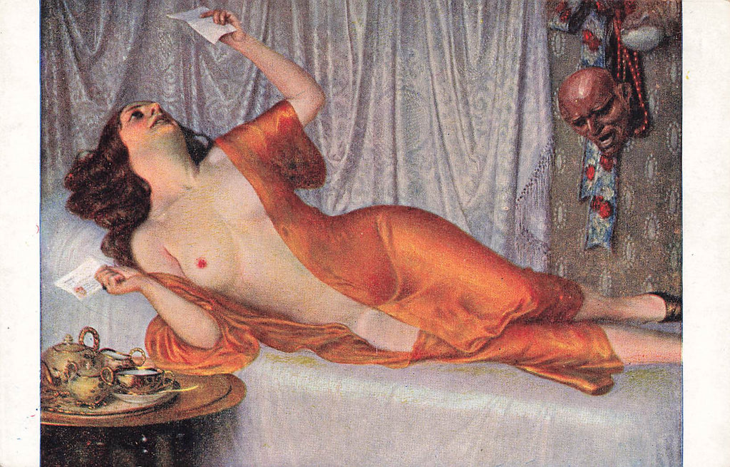 Skala - Artist Signed  - Nude - Orange robe- letter - devil head - Postcard