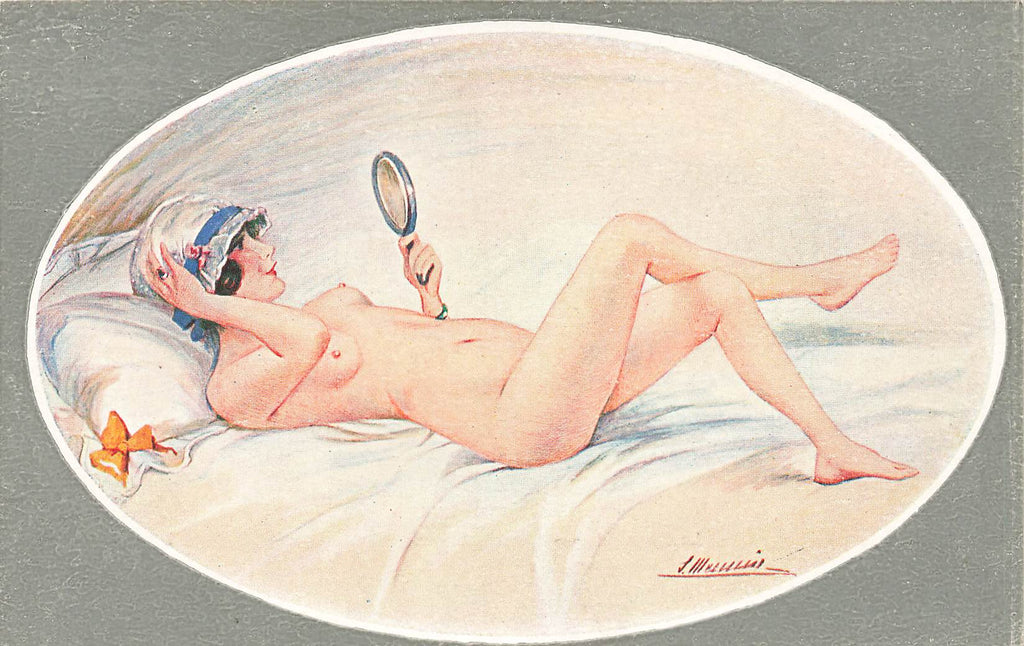 S. Meunier - Artist Signed  - Nude Woman mirror - French Postcard