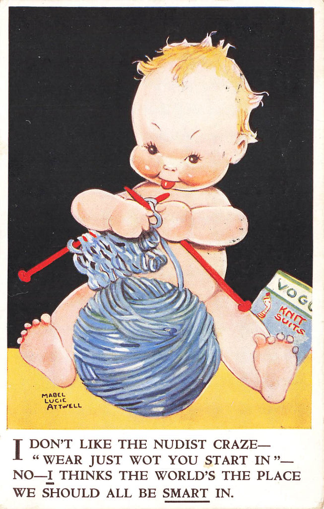 Mabel Lucie Attwell - Artist Signed - Knitting yarn Baby - Postcard