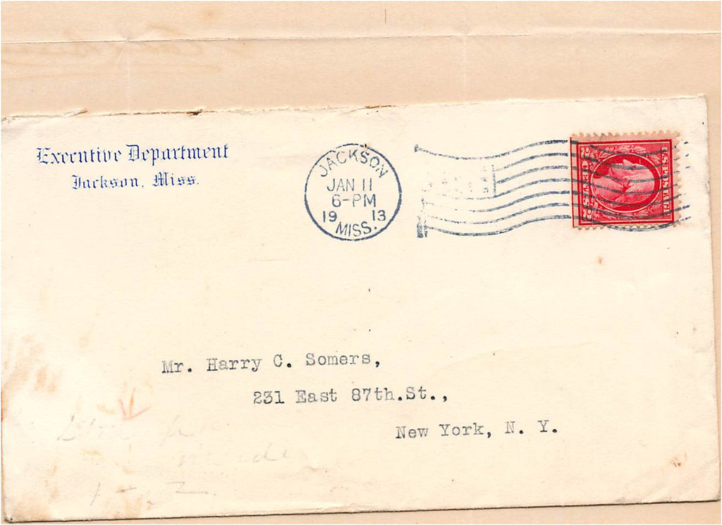 Governor Earl Leroy Brewer - Mississippi -  Brown v. MS - AUTOGRAPH 1913