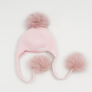 GORRO OREJERO NEW 3 POMPONES COLOR PELO NATURAL  1014663 rosa empolvado pelo natural