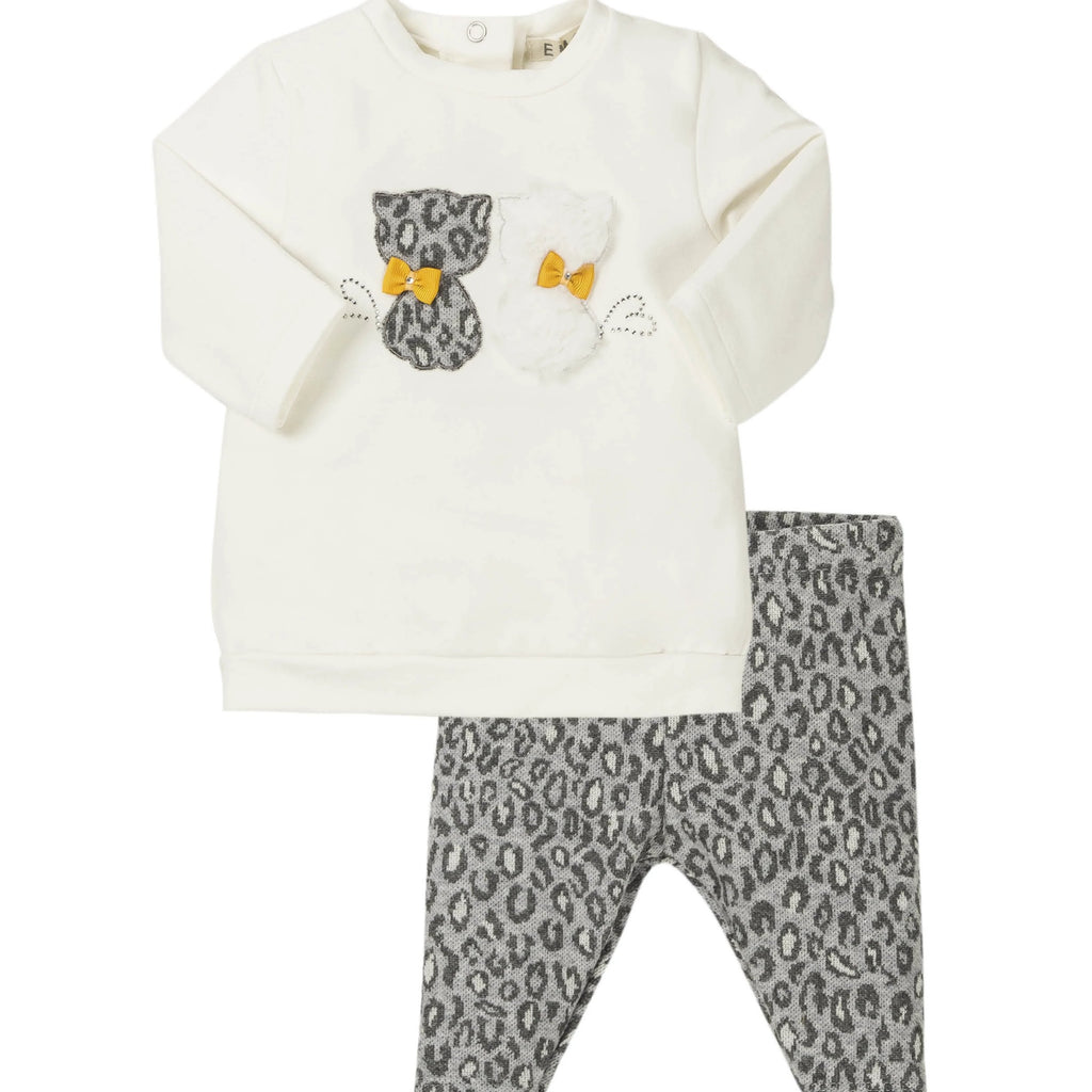 Conjunto baby niña gatos animal print