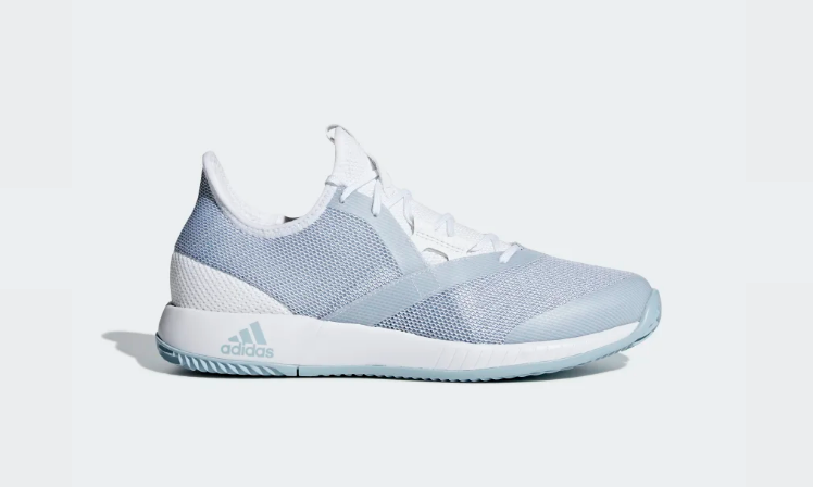 competitive price 860b9 2a9a4 Adidas Womens Adizero Defiant Bounce All Court Light Blue/Grey
