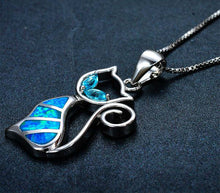 Load image into Gallery viewer, 925 Sterling Silver Blue Fire Opal Pendant Necklace