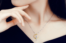 Load image into Gallery viewer, 925 Sterling Silver Cat Sitting On Half Moon Necklace