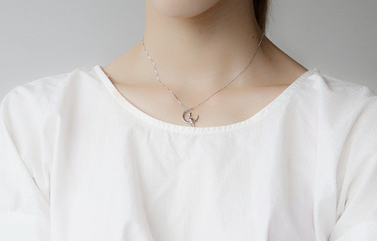 925 Sterling Silver Cat Sitting On Half Moon Necklace