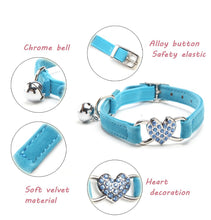 Load image into Gallery viewer, Soft Velvet Safety Elastic Adjustable Cat Collar With Heart Charm and Bell