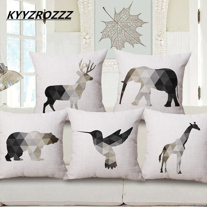 Nordic Geometric Animals Linen Cotton Cushion Cover