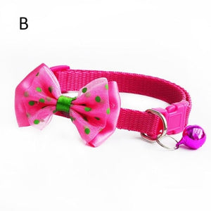 Adjustable Cat Collar With Bow Tie And Bell Charm