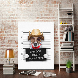 Canvas Painting With Funny Dog Cartoons