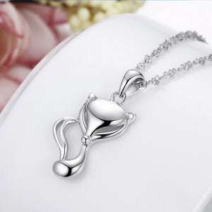 925 Sterling Silver Fox Pendant Necklace