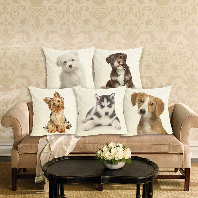 Lovely Puppy Dog Printed Cushion Cover