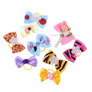 10 Pcs Hair Jeweled Bows With Mixed Styles