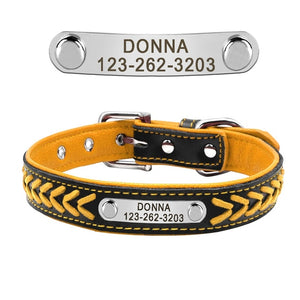 Leather Collars With Engraved Personalized Name And Phone Number Tags