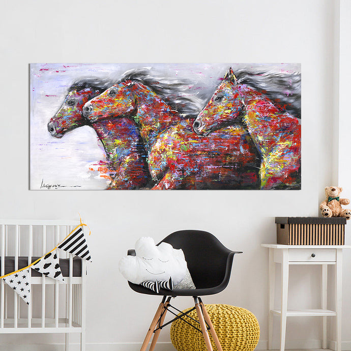 The Two Running Horses Oil Painting