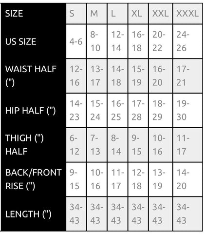 Sizing Chart Hott Mess Express Boutique
