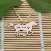Personalized Horse Heart Necklace - CUSTOMIZE with YOUR name!