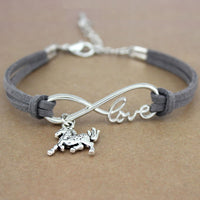 Infinity Love and Horse Leather Bracelet - Perfect for HORSE lovers!