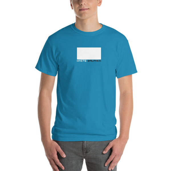 Guy wearing blue filmmaker t-shirt
